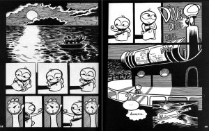 2-page spread from Craig Thompson's graphic novel Goodbye, Chunky Rice (pgs. 58-59, Top Shelf Productions, 1999)