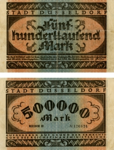 Engraved 500,000 German Mark from the early 1920s.