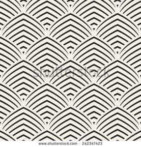 """Seamless pattern. Stylish ornament. Geometric background. Vector repeating texture. Striped pointed arches"", created by ""Curly Pat"" on ShutterShock.com as a stock vector image. The date it was created is unknown."