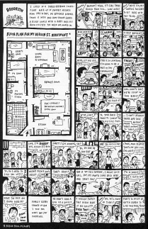 The larger frame in this comic shows a floorplan, which presumably sets the scene for the smaller, traditional comic strip frames. (David Heatley. My Brain Is Hanging Upside Down. New York: Pantheon, 2008.)