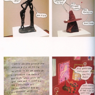 Liana Finck reappropriates famous artwork to tell a personal story. (All the Paintings Here Agree by Liana Finck. Roz Chast, ed. Best American Comics 2016. Boston: Houghton Mifflin Harcourt, 2016. 296-7.)