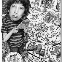This page from Drew Friedman's comic about R. Crumb offers an example of how large scale imagery might draw a viewer in while small scale details may add detail and complexity. (R. Crumb and Me by Drew Friedman. Monte Beauchamp, ed. Best American Comics 2016. New York: Simon & Schuster, 2014. 70.)