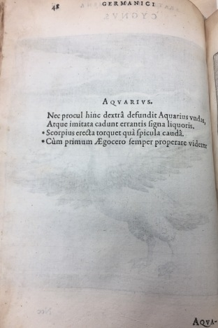 Aquarius page from Solensis Aratus book on astronomy